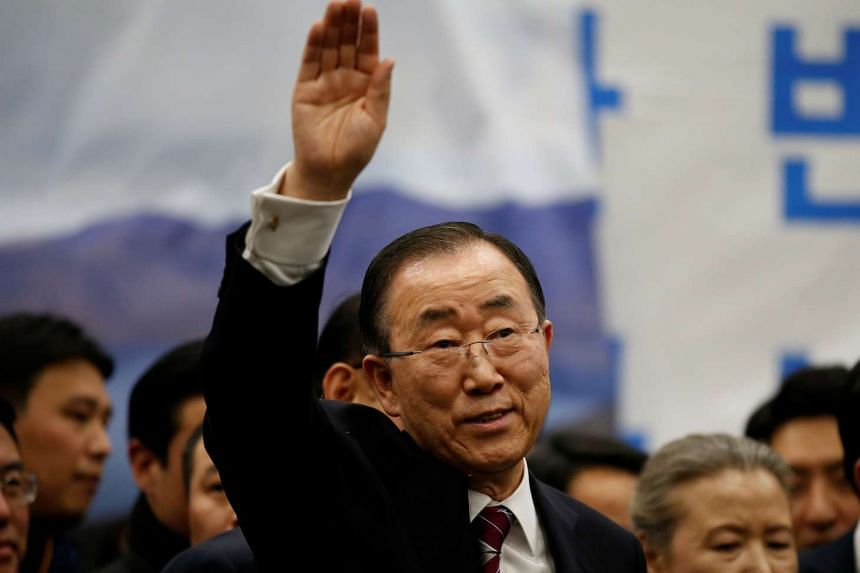 Former UN chief Ban Ki Moon waves to his supporters as he leaves after a news conference at the Incheon International Airport in South Korea on Jan 12, 2017.