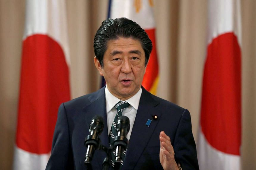 Japanese Prime Minister Shinzo Abe speaks during a ceremony at the presidential palace in Manila, Philippines on Jan 12, 2017.