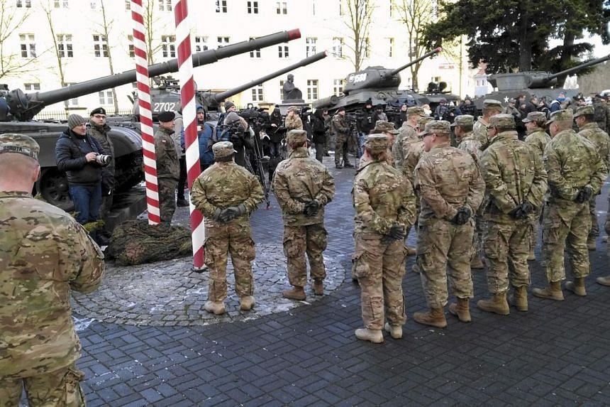 US soldiers arriving in Zagan, Poland, on Jan 12, 2017, as part of a NATO deployment.
