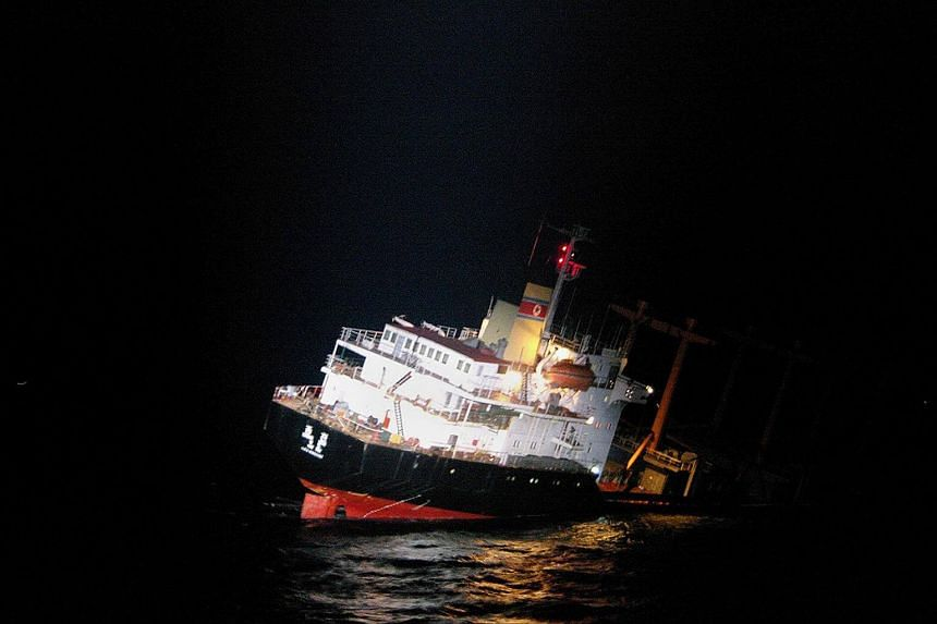 The North Korean cargo ship sinking in the East China Sea, south-west of Fukue island in Japan's Nagasaki prefecture.