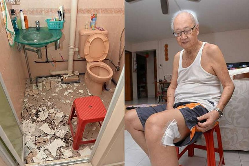 Falling pieces of concrete (far left), in a flat in Block 141 Yishun Ring Road, left an 80-year-old man (left) with surface lacerations last Friday. The man's daughter, who owns the flat, has agreed to take up HDB's offer of help with the repair cost