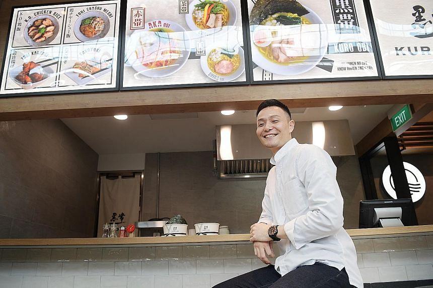 Mr Yota Shiiba, deputy general manager of Ippudo Singapore, at the new Kuro-Obi counter at Marina Bay Sands.