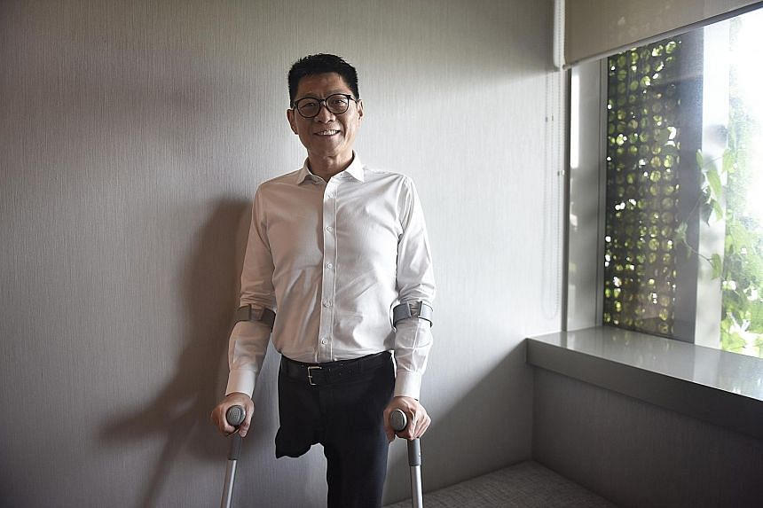 Mr Wang, who lost a leg to cancer in 1999, will be taking part in Singapore's first Relay for Life event next month.