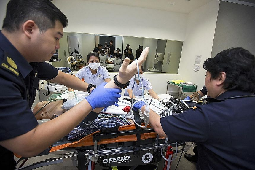 SCDF paramedics will be trained to deal with simulated emergencies at SingHealth's new medical simulation institute, which was launched yesterday to train healthcare staff.