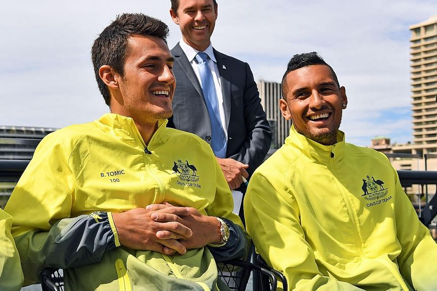 Australia's Bernard Tomic (left) and Nick Kyrgios (right) are all smiles in the lead-up to the first Grand Slam of 2017. Both tennis players will be seeded in Friday's draw