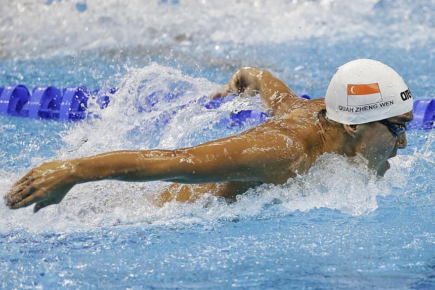 Singapore swimmer Quah Zheng Wen racing in the men's 200m butterfly heats at the Rio Olympics. He touched home in 1min 56.01sec but clocked a slower time in the semi-finals and missed out on a final berth.