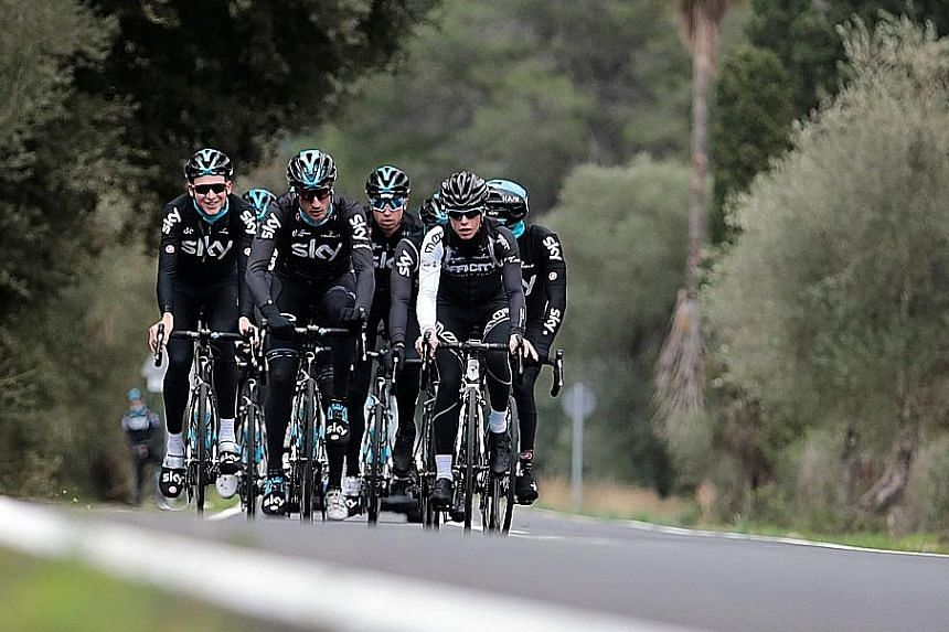 Team Sky riders training in Mallorca. These are far from routine times at the team who have dominated the Tour de France since 2012.