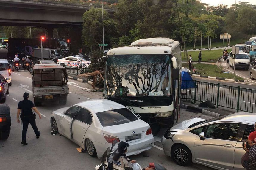Accident involving several vehicles, including a private bus and a lorry, at Pioneer Road North on Jan 12, 2017.