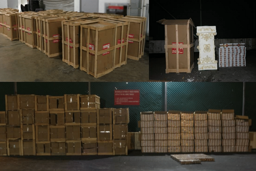 A total of 2,409 cartons of duty-unpaid cigarettes, hidden in display stands, were seized in the case involving the 36-year-old male Chinese national.
