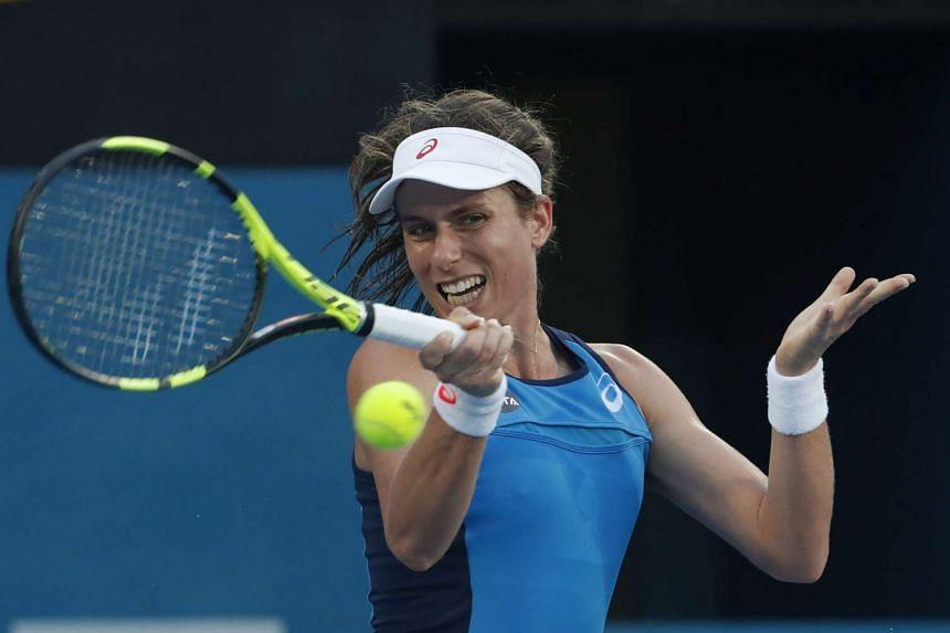 Britain's Johanna Konta overpowered Agnieszka Radwanska 6-4, 6-2 in the final of the Sydney International to claim her second career WTA title on Jan 13, 2017.