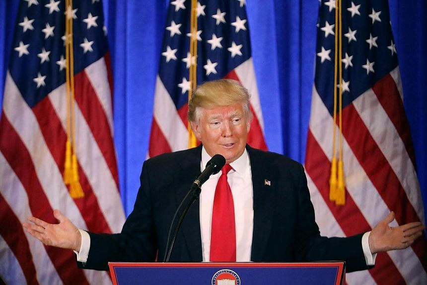 President-elect Donald Trump speaks at a news conference at Trump Tower on Jan 11, 2017 in New York City.