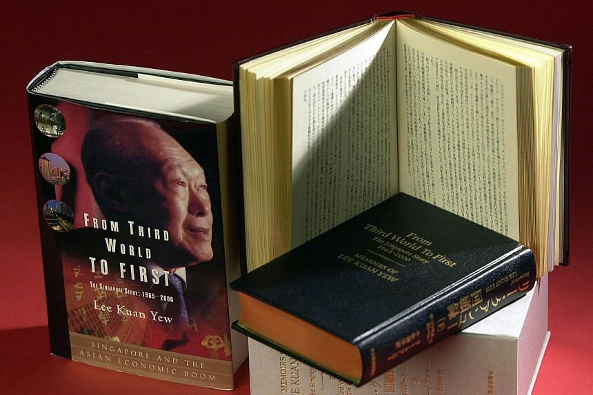File photo of founding prime minister Lee Kuan Yew's memoir, From Third World To First.
