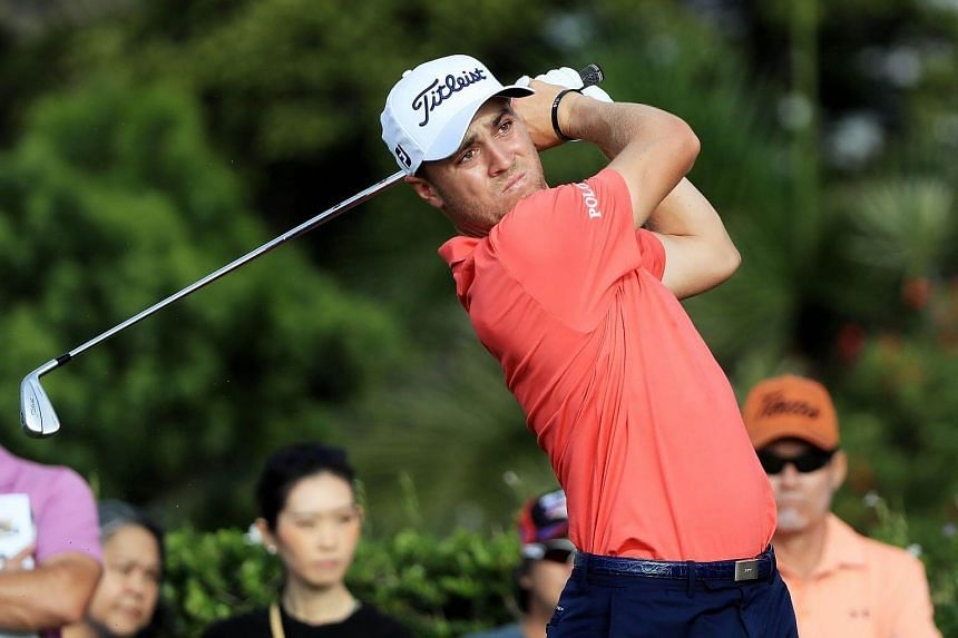 Justin Thomas of the United States plays his shot from the 15th tee during the first round of the Sony Open In Hawaii at Waialae Country Club on Jan 12, 2017 in Honolulu, Hawaii.