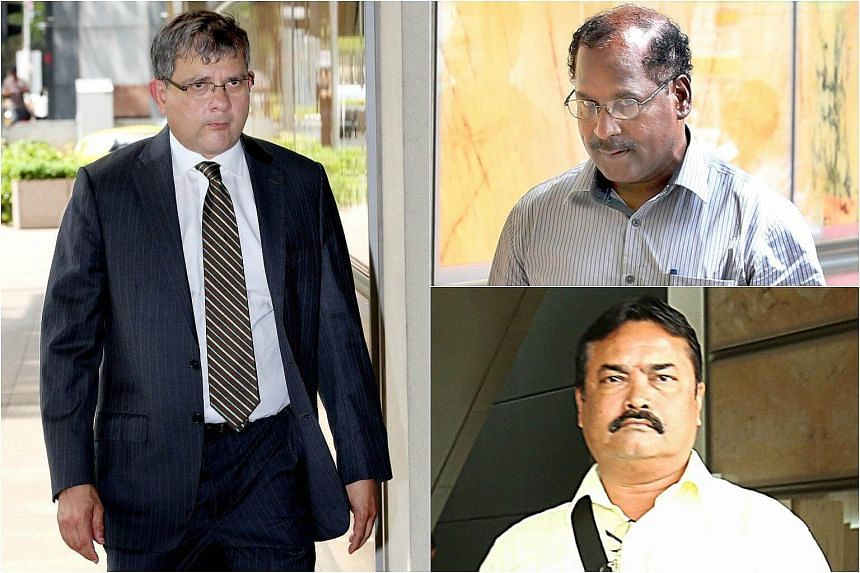 Engineer Gopal Subramaniam (top, right) and construction worker Kulandaivelu Malayaperumal (bottom, right) are among those being sued by Senior Counsel Philip Jeyaretnam (left), who is one of two executors of Dr Paul's estate.
