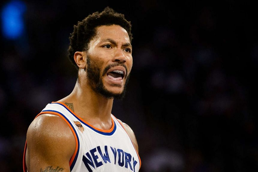 Derrick Rose reacts during a game against the Houston Rockets, at Madison Square Garden in Manhattan on Nov 2, 2016.