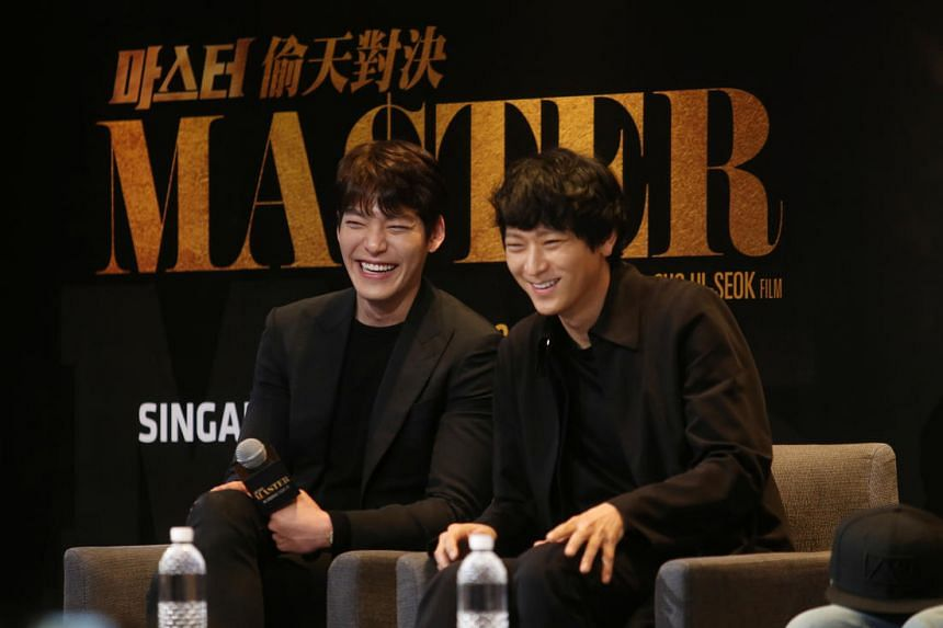 Kim Woo Bin (left) was in town on Jan 12, 2017, with co-star Gang Dong Won (right) and director Cho Ui Seok to promote their new movie, the crime thriller Master.