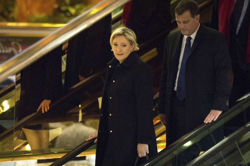 Marine Le Pen, leader of the French far-right National Front party and candidate in the French 2017 presidential elections, at Trump Tower on Fifth Avenue in New York, Jan 12, 2017.