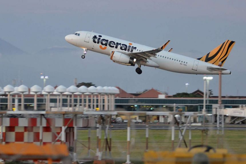 A Tiger Airways plane taking-off from I Gusti Ngurah Rai airport in Denpasar, Bali island, Indonesia, on Jan 12, 2017.