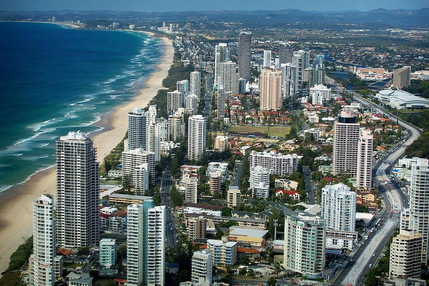 An aerial view looking south of Main Beach from the Q1 observation deck, Surfers Paradise, Gold Coast, Australia, on Aug 17, 2013.