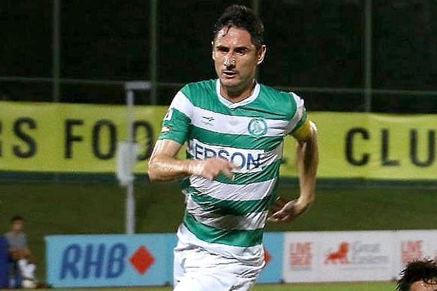 Defender Daniel Bennett in Geylang International colours last year. Next season, he will play for five-time S-League champions Tampines Rovers.