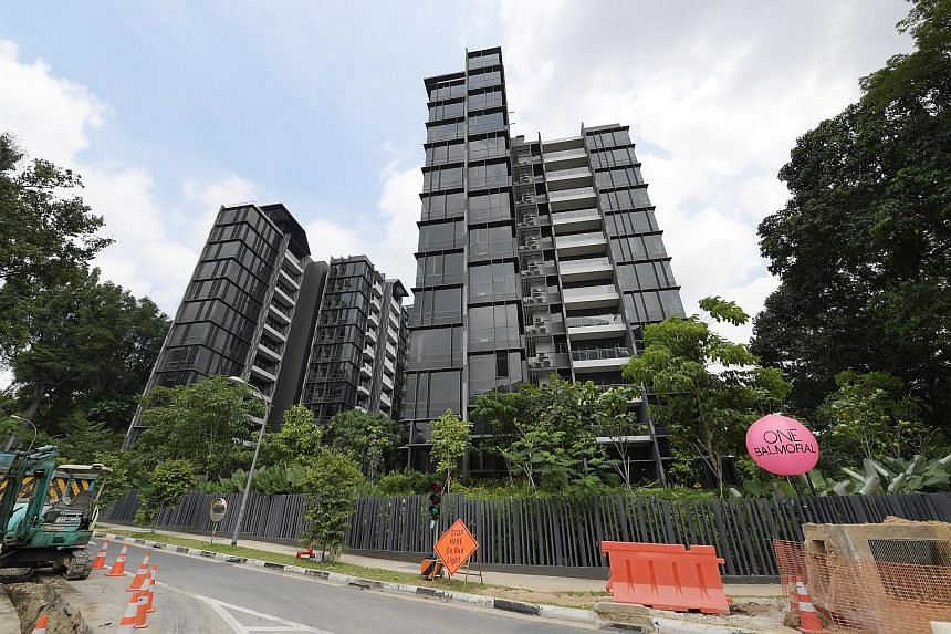 The Peak@Cairnhill II (above) was launched on Monday with a 15 per cent discount and an enhanced deferred payment scheme, while the developer of One Balmoral (below) is offering a 13 per cent discount on the prices of all units.