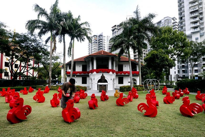 An art installation that features 52 red roosters scattered across the lawn will welcome the Year of the Rooster at the Sun Yat Sen Nanyang Memorial Hall in Balestier. Each rooster piece is about 80cm tall, and will be on display until Feb 11 to mark