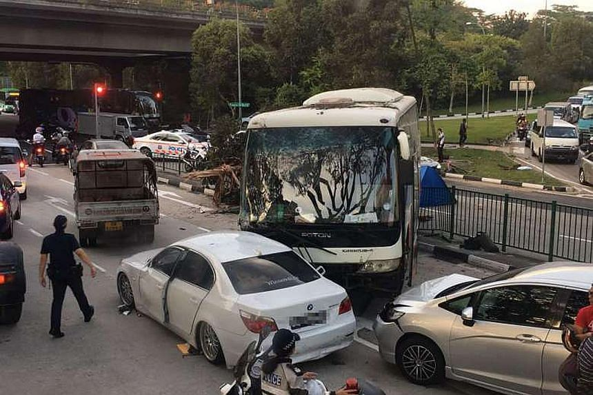 The woman cyclist, in her 40s, was pronounced dead at the scene by paramedics, police said. The bus driver was arrested for causing death by a negligent act.