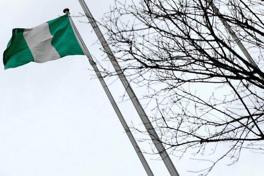 A Nigerian flag is seen outside Nigeria Trade Office, in Taipei, Taiwan, on Jan 12, 2017.