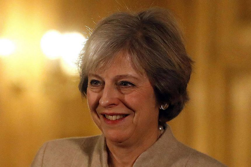 British PM Theresa May speaking during a press conference with New Zealand PM Bill English (not pictured) at 10 Downing Street in London, on Jan 13, 2017.