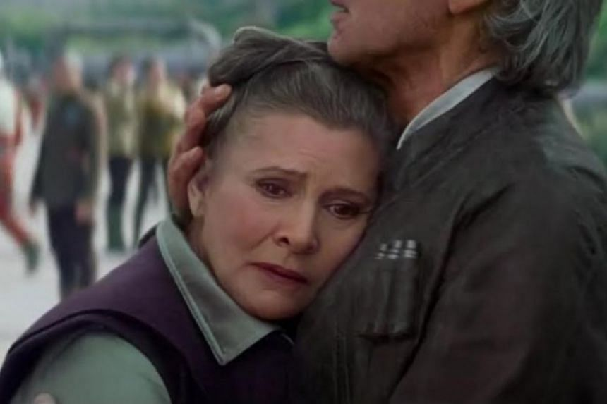 General Leia Organa (Carrie Fisher) with Han Solo (Harrison Ford) in The Force Awakens.