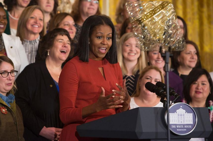 Michelle Obama gives her final remarks as US First Lady at the 2017 School Counselor of the Year event at the White House in Washington DC, January 5, 2017.