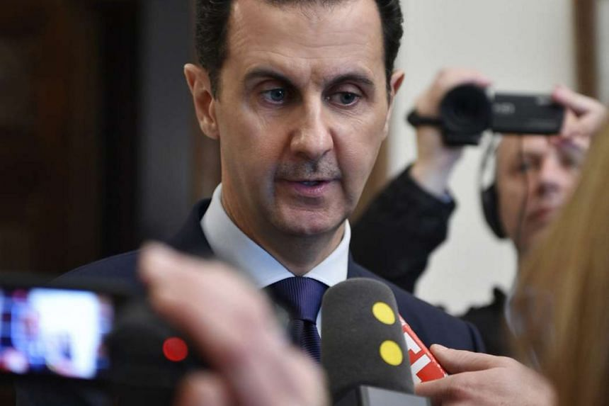 Syrian President Bashar al-Assad gives a statement to representatives of French media in Damascus, Syria, on Jan 8, 2017.