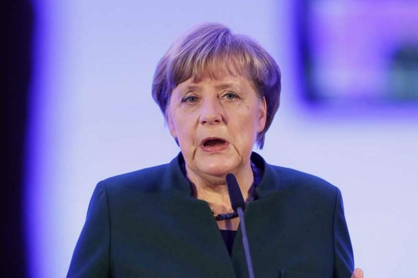 Merkel speaks during the closed conference of the federal executive committee of the CDU party.