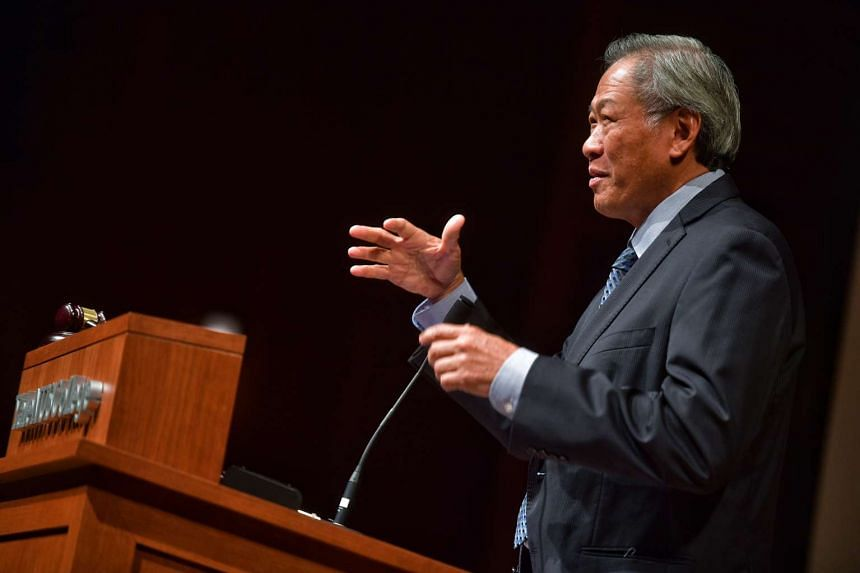 Defence Minister Ng Eng Hen speaking at the opening of the Yale-NUS College Asia Pacific Model United Nations on Jan 13, 2017.