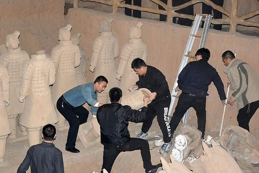 The authorities in Xian, capital of north-west China's Shaanxi province, this week raided a resort and destroyed more than 40 fake terracotta warriors. The raid came after a tourist's complaint posted online on Jan 5 went viral.