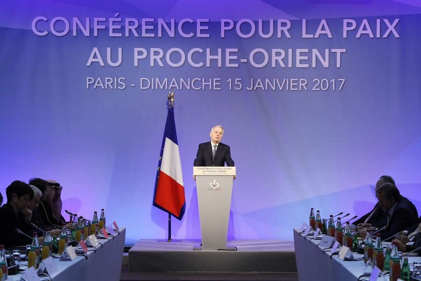 French Minister of Foreign Affairs Jean-Marc Ayrault addresses delegates at the opening of the Middle East Peace Conference in Paris, France on Jan 15, 2017.
