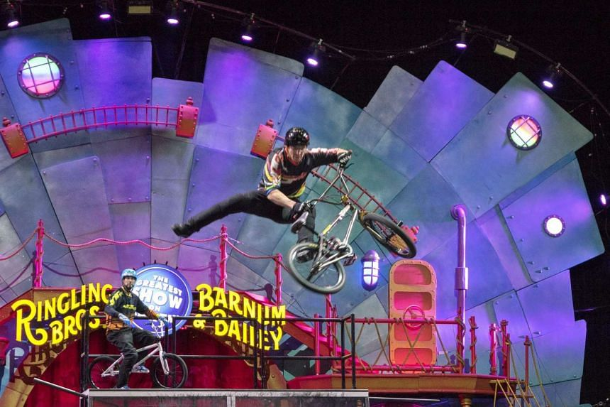 A member of the circus' BMX team performing during their show at the American Airlines Arena in Miami, Florida, on Jan 13, 2016.