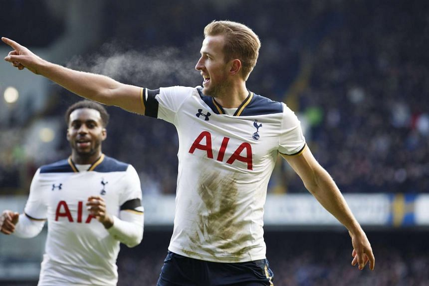 Tottenham's Harry Kane (right) celebrates after scoring during their English Premier League soccer match against West Bromwich at White Hart Lane in London on Jan 14, 2017.