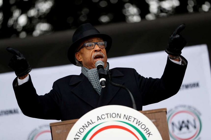 """Reverend Al Sharpton speaks during the National Action Network's """"We Shall Not Be Moved"""" march in Washington, Jan 14, 2017."""