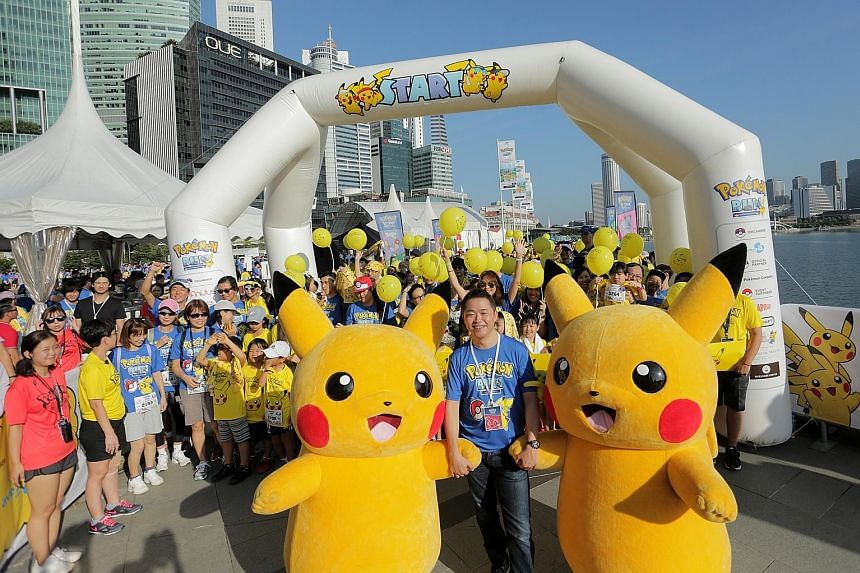 About 6,000 participants aged between four and 76 took part in South-east Asia's first official Pokemon- themed fun run, the Pokemon Run Singapore, at the Promontory @ Marina Bay yesterday morning. Led by Pikachu, one of the world's most-loved Pokemo