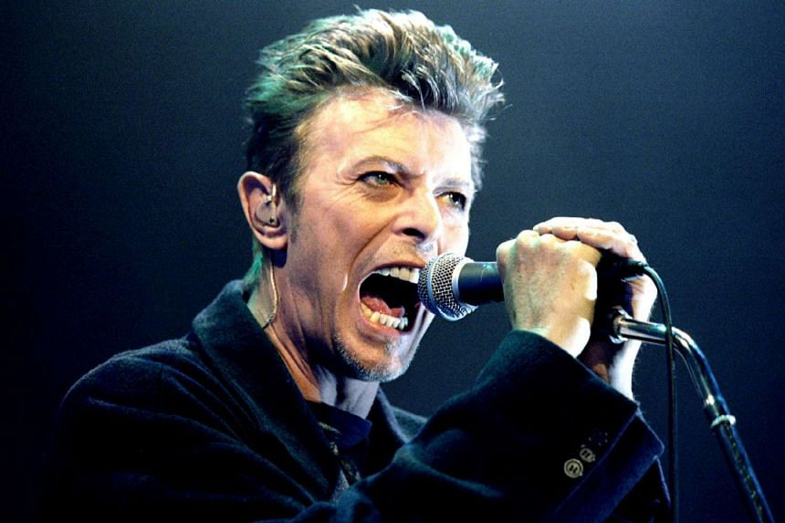 British pop star David Bowie screaming into the microphone as he performs on stage during his concert in Vienna, on Feb 4, 1996.
