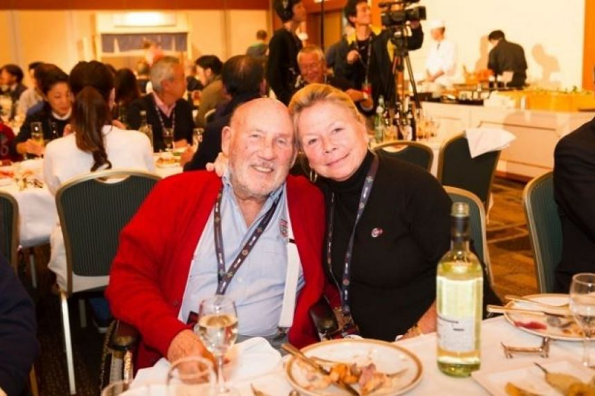 British racing great Stirling Moss and his wife Susie Moss.