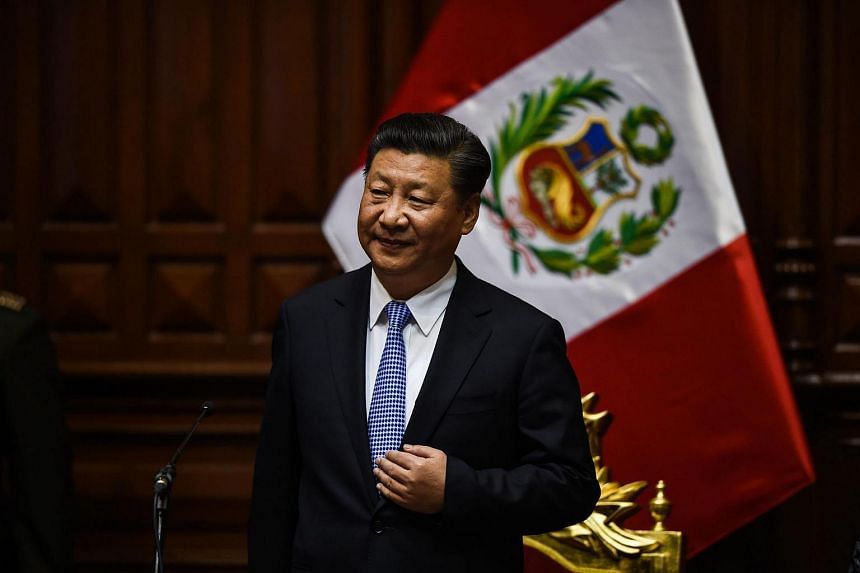 China's President Xi Jinping arrives at the Peruvian congress for a ceremony in Lima on Nov 21, 2016, during an official visit ensueing the APEC Summit.