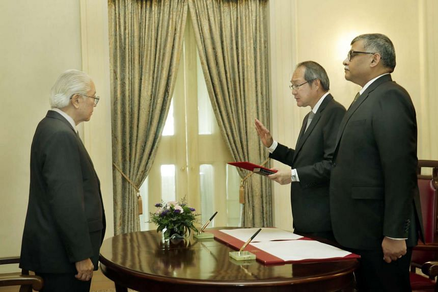 President Tony Tan Keng Yam officiates the Swearing-in and Appointment Ceremony of Mr Lucien Wong as Attorney-General and Member of the Presidential Council for Minority Rights at the Istana on Jan 16, 2017.