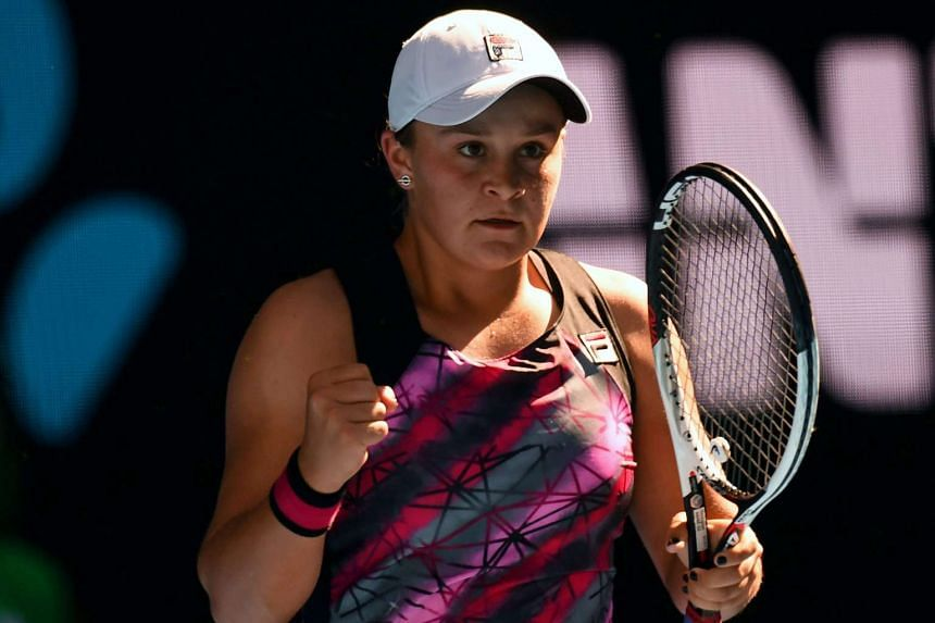 Ashleigh Barty reacts during her Women's Singles first round match against Annika Beck at the Australian Open Grand Slam tennis tournament in Melbourne on Jan 16, 2017.