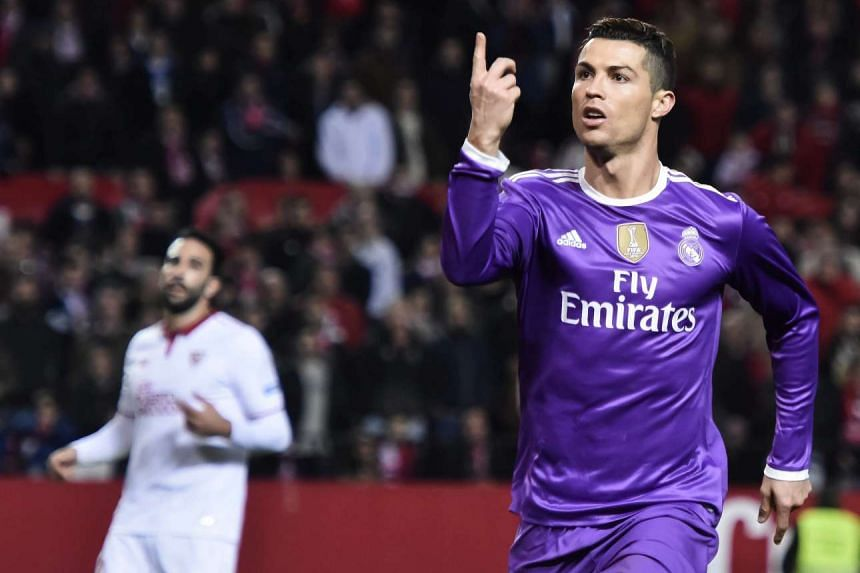 Real Madrid's Cristiano Ronaldo celebrating his goal against Sevilla during their Spanish First Division match on Jan 15, 2017.