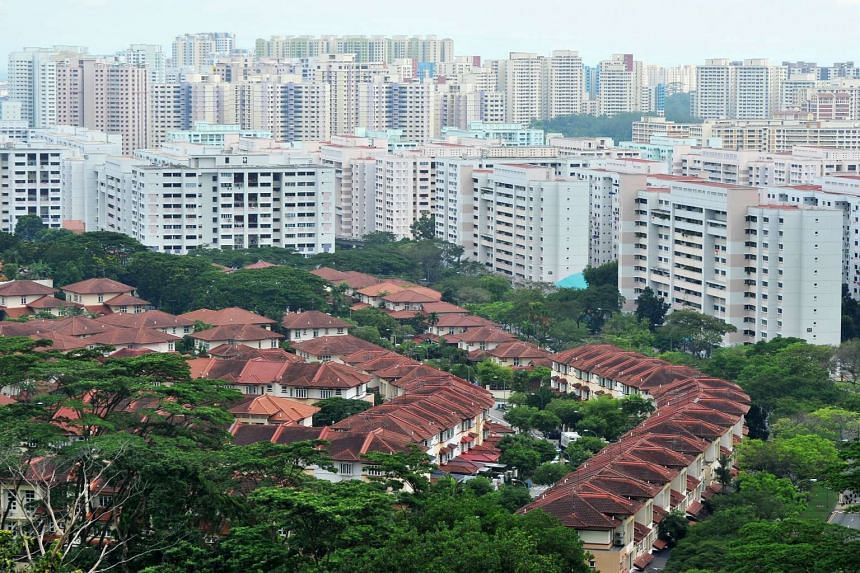 An aerial view of private residences and HDB flats near Tree House condominium.