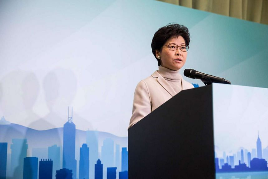 Carrie Lam speaks at a press conference to announce her candidacy for the 2017 Hong Kong Chief Executive elections on Jan 16, 2017.