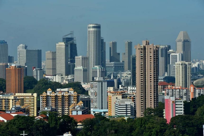 A view of the city skyline, taken from Kim Tian Road.