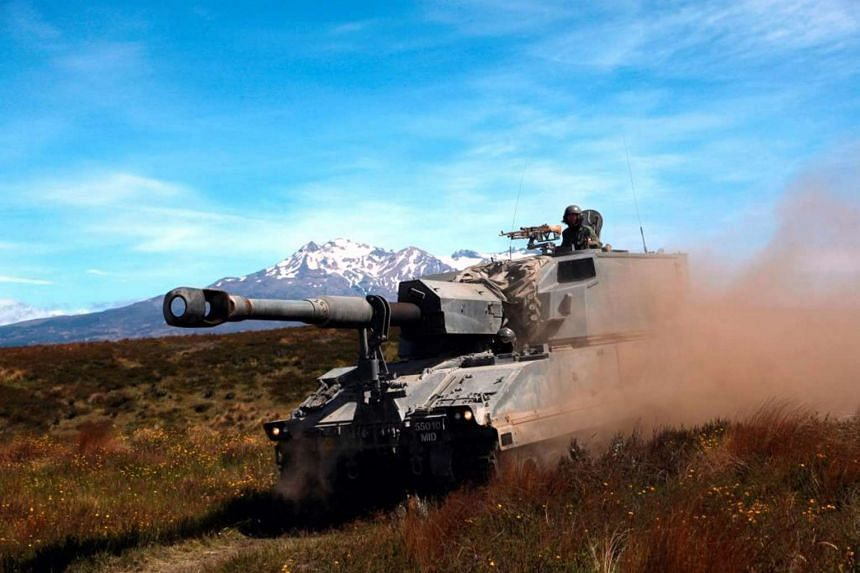 A Singapore Armed Forces artillery piece conducting a live-fire excercise in Waiouru, New Zealand.